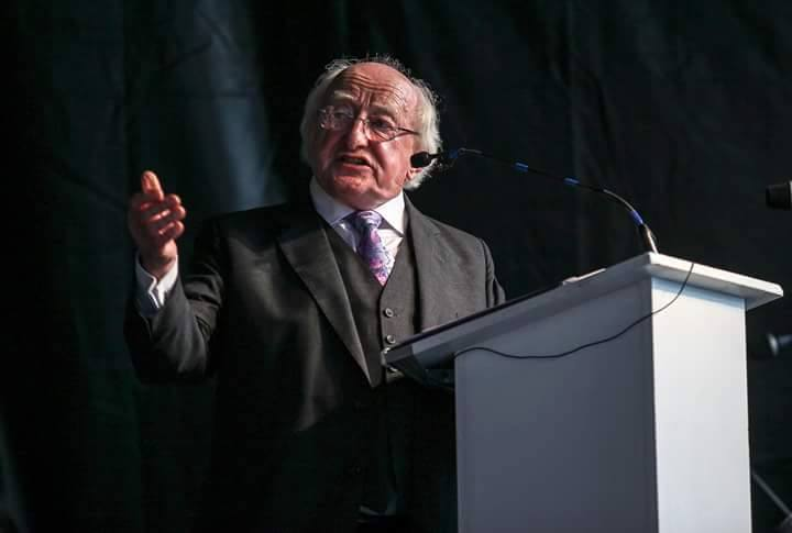 President of Ireland Michael D higgins spoke from the podium on the Gig-rig at the official opening of the Fleadh Cheoil na hEireann, with a very moving and powerful speech.